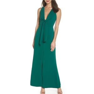 Harlyn plunge neck tie front maxi dress S